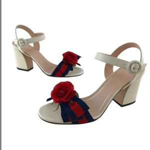 Gucci Web Bow Silk Flower Sandals